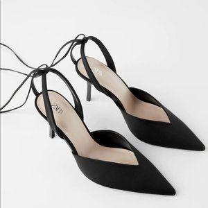Zara V Vamp Black Lace Up High Heel Shoes